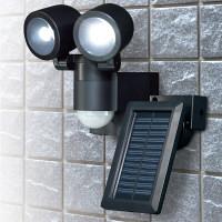 朝日電器 ELPA(エルパ) ソーラーLEDセンサーライト2灯 ESL-N102SL(BK) (取寄品)
