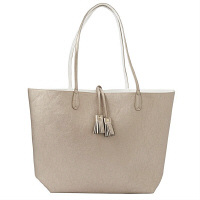 マッドパイ Mud Pie REAGAN REVERSIBLE TOTE WHT SLV 8613242WHSL