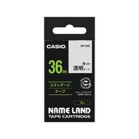 カシオ ネームランドテープ スタンダードテープ 36mm 透明テープ(黒文字) 1個 XR-36X