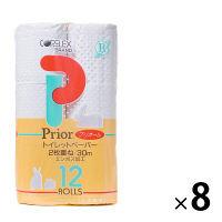 トイレットペーパー 12ロール入×8パック 再生紙 ダブル 30m プリオール 1ケース(96ロール入) コアレックス信栄