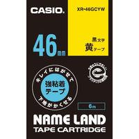 カシオ ネームランドテープ キレイにはがせて下地がかくせる強粘着テープ 46mm 黄テープ(黒文字) 1個 XR-46GCYW
