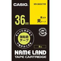 カシオ ネームランドテープ キレイにはがせて下地がかくせる強粘着テープ 36mm 黄テープ(黒文字) 1個 XR-36GCYW