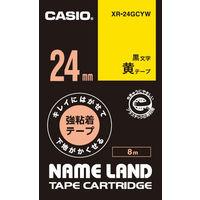カシオ ネームランドテープ キレイにはがせて下地がかくせる強粘着テープ 24mm 黄テープ(黒文字) 1個 XR-24GCYW