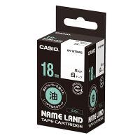 カシオ ネームランドテープ 油のついている面にもしっかりはれるテープ 18mm 白ラベル(黒文字) 1個 XR-18TRWE