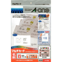 エーワン マルチカード 兼用タイプ 白 10面 51002 1袋(10シート入)