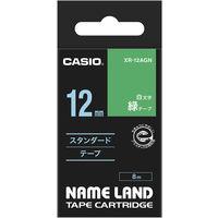 カシオ ネームランドテープ スタンダードテープ 12mm 緑テープ(白文字) 1個 XR-12AGN