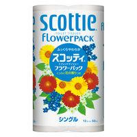 トイレットペーパー 12ロール 古紙配合 花の香り シングル 50m スコッティフラワーパック 1パック(12個入) 日本製紙クレシア