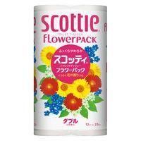 トイレットペーパー 12ロール 古紙配合 花の香り ダブル 25m スコッティフラワーパック 1パック(12個入) 日本製紙クレシア