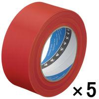 寺岡製作所 養生テープ P-カットテープ No.4140 塗装養生用 赤 幅50mm×長さ50m巻 1セット(5巻:1巻×5)