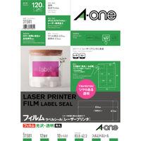 エーワン ラベルシール パッケージラベル レーザープリンタ 光沢フィルム 透明 A4 12面 1袋(10シート入) 31581(取寄品)
