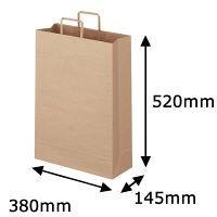 平紐 クラフト紙手提袋ベーシック380×520×145 茶 1袋(50枚入)