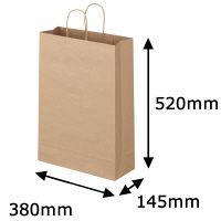 丸紐 クラフト紙手提袋ベーシック 380×520×145 茶 1袋(50枚入)