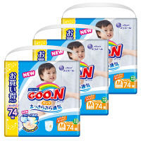 GOO.N(グーン) パンツ  Mサイズ(7~12kg) 1ケース222枚(74枚×3パック) やわらかパンツ 大王製紙