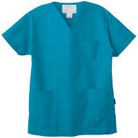 【アスクル限定】 フォーク カラースクラブ 4ポケット(男女兼用) BAS-001 ターコイズ L 医療白衣