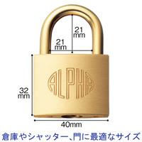 アルファ シリンダー南京錠 1000-40mm 1000-40 1セット(5個)