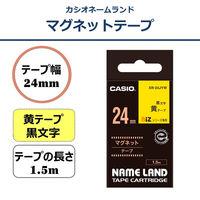 カシオ ネームランドテープ マグネットテープ 24mm 黄テープ(黒文字) 1個 XR-24JYW