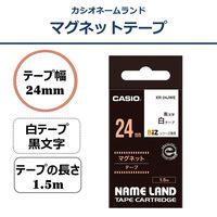 カシオ ネームランドテープ マグネットテープ 24mm 白テープ(黒文字) 1個 XR-24JWE
