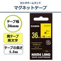 カシオ ネームランドテープ マグネットテープ 36mm 黄テープ(黒文字) 1個 XR-36JYW