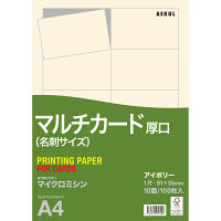 アスクル 名刺用紙 マイクロミシン 厚口 アイボリー 1袋(100シート入)