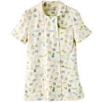 フランシュリッペ チュニックパイピングカラー アイボリー(ねこ図鑑柄) L MS-21012P 医療白衣 ナースジャケット 1枚 (取寄品)