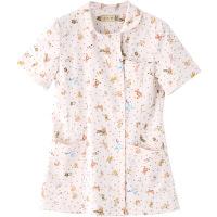 フランシュリッペ チュニックパイピングカラー ピンク(ぬいぐるみ柄) L MS-21012P 医療白衣 ナースジャケット 1枚 (取寄品)