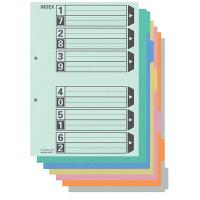 カラー仕切カード(フラットファイル用)A4タテ 6山 シキ-260 100組 コクヨ