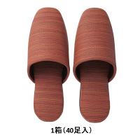 布地風ビニールスリッパ デコア 大きめM レッド 1ケース(40足)