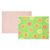 マルチマット1セット(2枚:1枚×2) チェックピンク+フラワーグリーン
