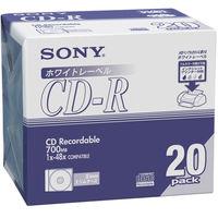 ソニー CDR 700MB プリント対応 スリムケース 20CDQ80DPWA 1パック(20枚入)