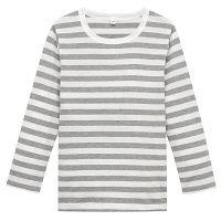 無印良品 毎日のこども服オーガニックコットンしましま長袖Tシャツ キッズ 130 グレー 良品計画
