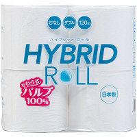 トイレットペーパー 4ロール入×8パック パルプ ダブル 120m ハイブリッドパルプ 1箱(32ロール入) 丸富製紙