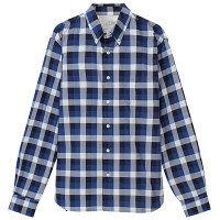 【アウトレット】無印良品 オーガニックコットンインディゴチェックボタンシャツ 紳士 L スカイブルー 良品計画