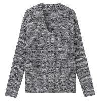 無印良品 オーガニックコットン畦編みセーター 婦人 L ネイビー 良品計画