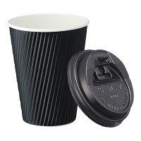 リップルカップ ブラック 12オンス 本体+フタセット (40セット) ファーストレイト