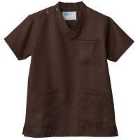 自重堂 男女兼用スクラブ WH11485B ブラウン 4L 医療白衣 1枚 (取寄品)