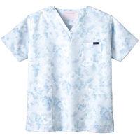フォーク 花柄スクラブ ブルー M 7008SC-2 1枚 (直送品)