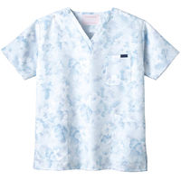 フォーク 花柄スクラブ ブルー LL 7008SC-2 1枚 (直送品)