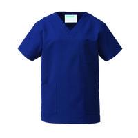 KAZEN カラースクラブ(男女兼用) 医療白衣 半袖 ネイビー M 133-98