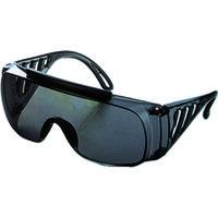 TRUSCO(トラスコ中山) 保護メガネ・ゴーグル メガネ併用 一眼型サイド付セーフティグラス グレー GS33 1個 152-4721 (直送品)