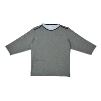 トンボ キラク 検診用シャツ(男女兼用) CR838 グレーモク BL 検診用ウェア(患者衣・検査衣・検査着) 1枚 (取寄品)