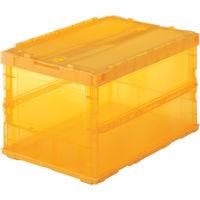 トラスコ中山 TRUSCO 薄型折りたたみコンテナスケル 50Lロックフタ付 オレンジ TSKC50B 1個 344ー9441 (直送品)