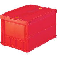 トラスコ中山 TRUSCO 薄型折りたたみコンテナ 50Lロックフタ付 レッド TRC50B 1個 344ー9319 (直送品)
