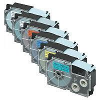 カシオ ネームランドテープ 6色セット 18mm 白・透明・黄・緑・赤・青テープ(黒文字) 1パック(6色入) XR-TAPE-18C