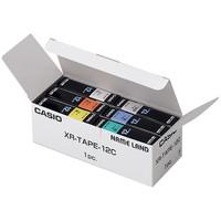 カシオ ネームランドテープ 6色セット 12mm 白・透明・黄・緑・赤・青テープ(黒文字) 1パック(6色入) XR-TAPE-12C