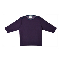 トンボ キラク 検診用シャツ(男女兼用) CR838 バイオレット S 検診用ウェア(患者衣・検査衣・検査着) 1枚 (取寄品)