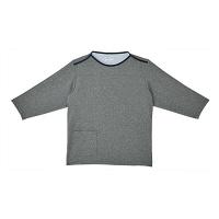 トンボ キラク 検診用シャツ(男女兼用) CR838 グレーモク LL 検診用ウェア(患者衣・検査衣・検査着) 1枚 (取寄品)