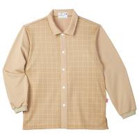 トンボ キラク 患者用前開きシャツ(男女兼用) CR849 ベージュ LL 検診用ウェア(患者衣・検査衣・検査着) 1枚(取寄品)
