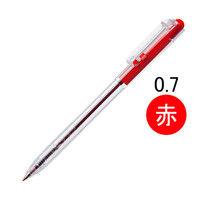 アスクル ノック式油性ボールペン(通し穴付き) クリア軸 0.7mm 赤インク 10本