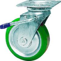 シシク スタンダードプレスキャスター ウレタン車輪自在ストッパー付 100径 UWJB100 1個 505ー7183 (直送品)