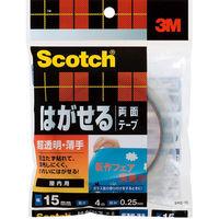 3M スコッチ(R) はがせる両面テープ 超透明薄手 0.25m厚 幅15mm×4m巻 SRS-15 1セット(5巻:1巻×5) スリーエム ジャパン